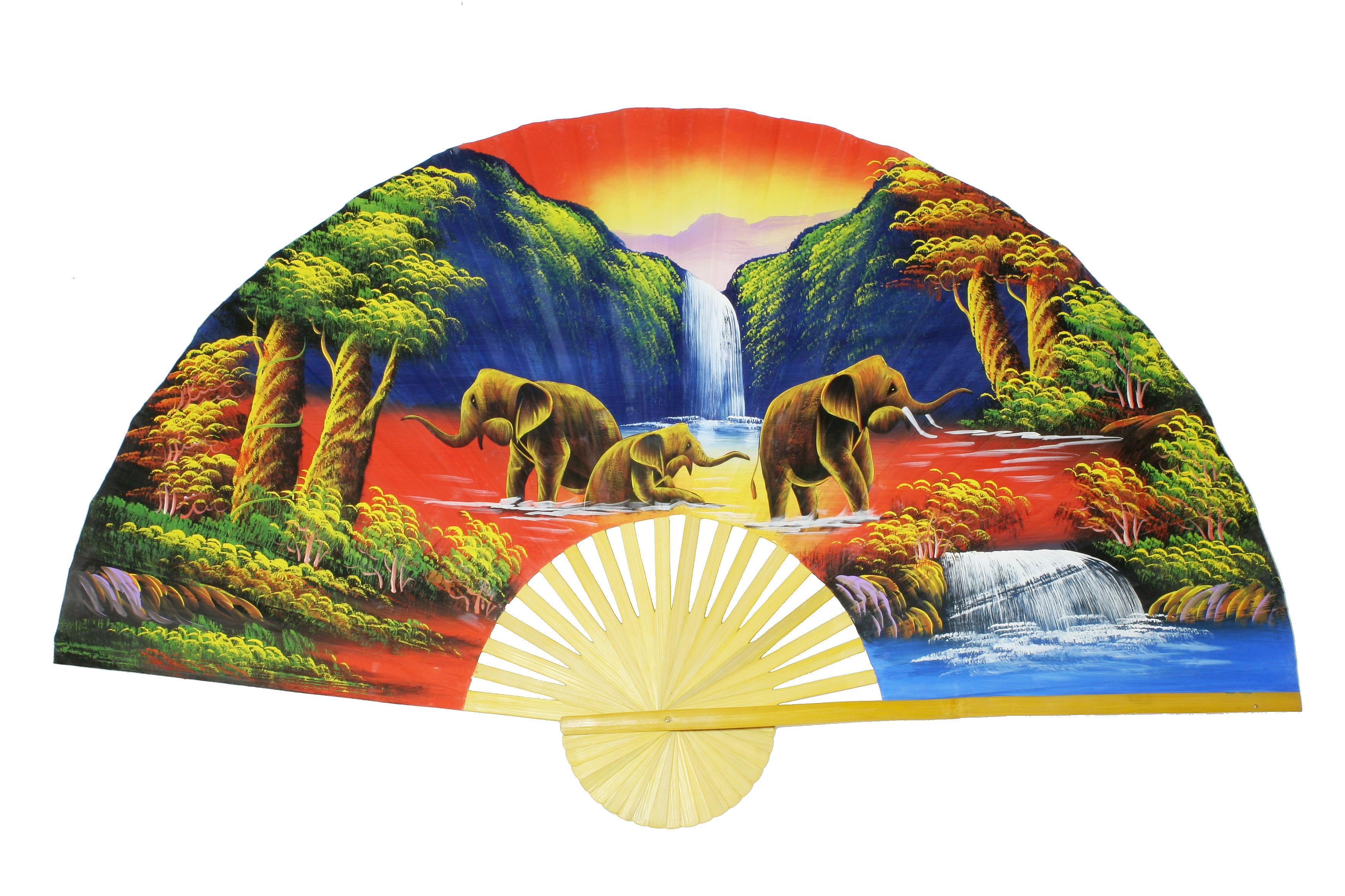 Wandfächer Unikat Handarbeit (Elefanten Sonnenuntergang)