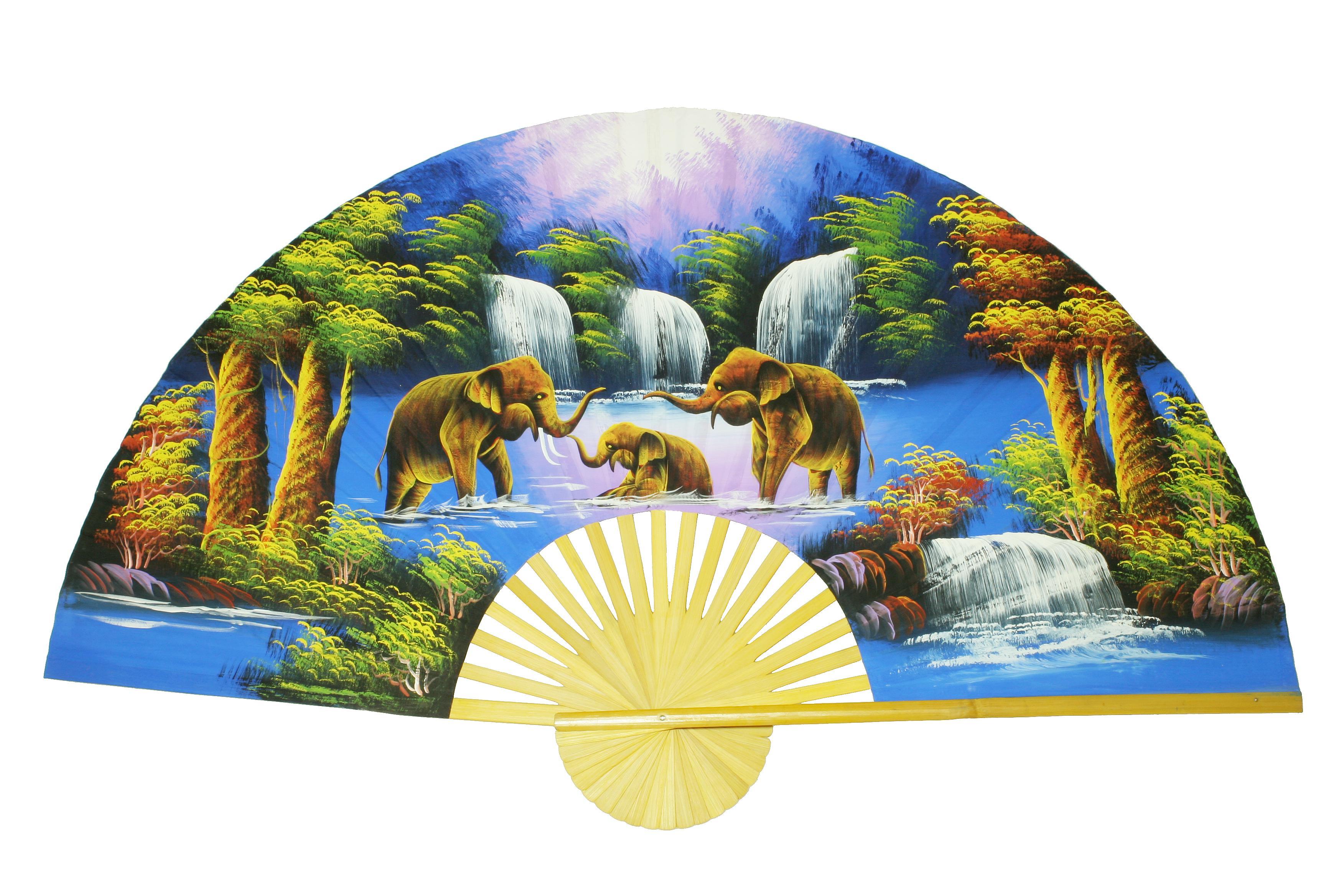 Handbemalter Wandfächer (Elefanten am chillen)