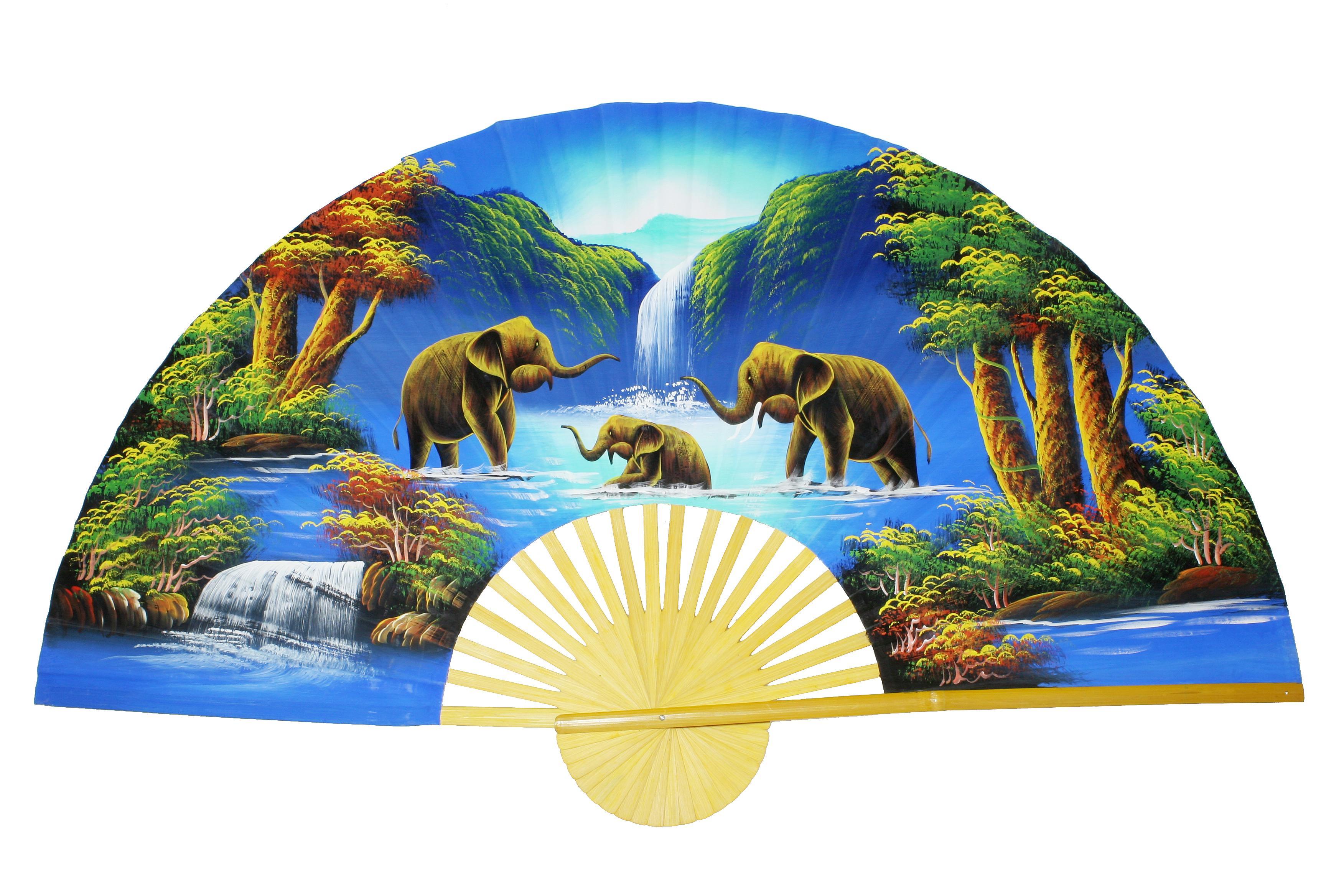 Wandfächer von Hand bemalt (Elefanten)
