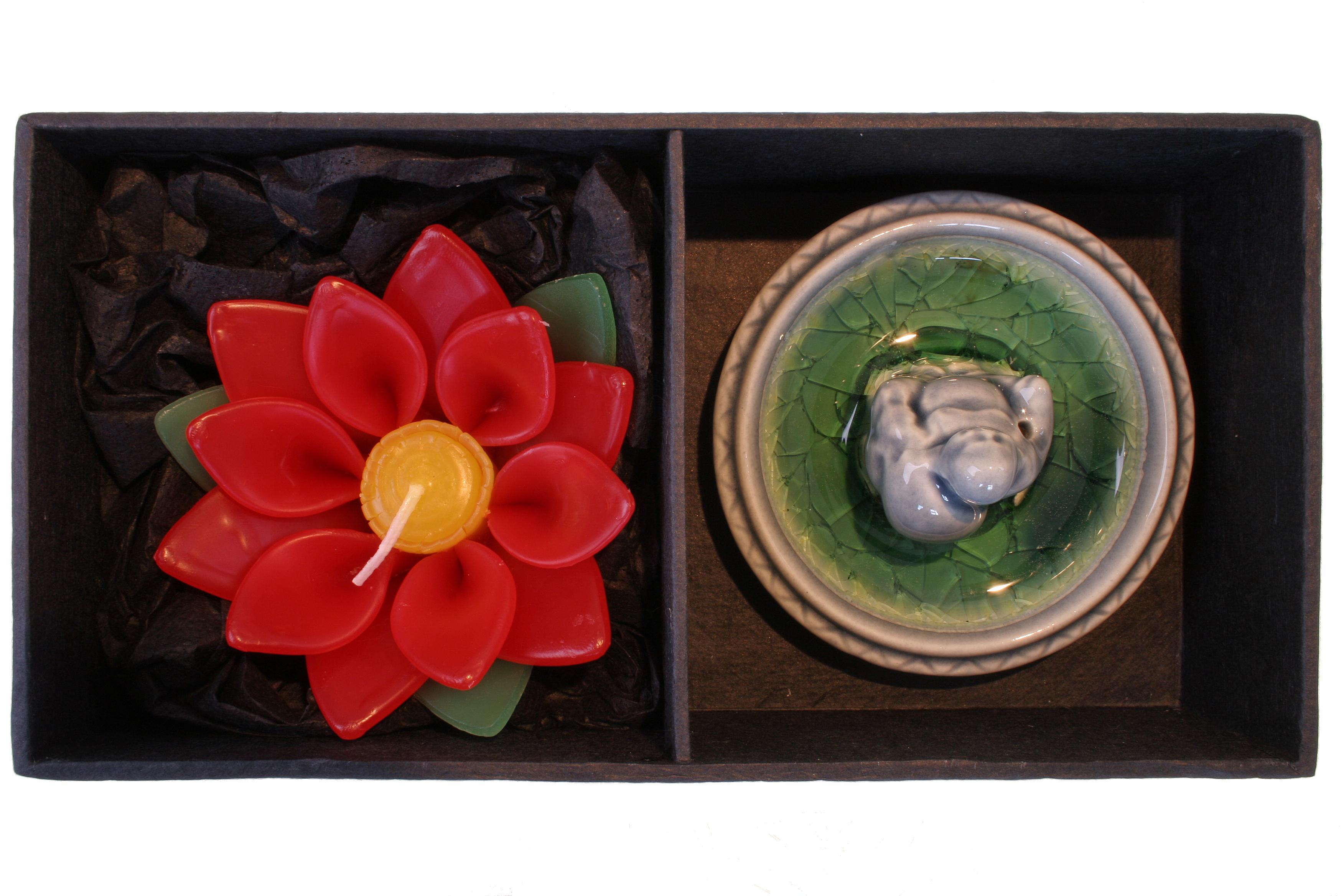 Geschenk-Set Buddha Lotus gruen/blau