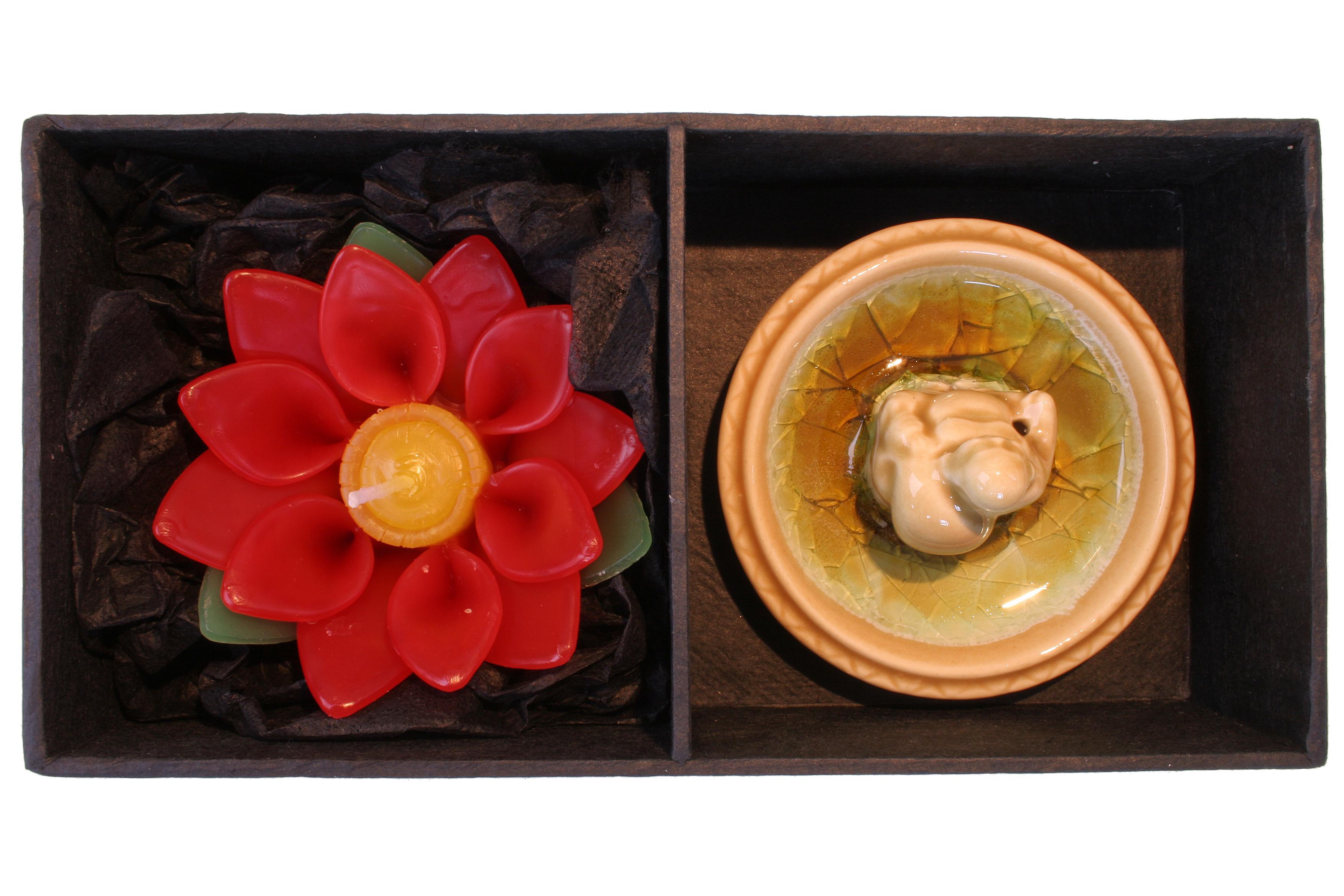 Geschenk-Set Buddha Lotus gruen/sand
